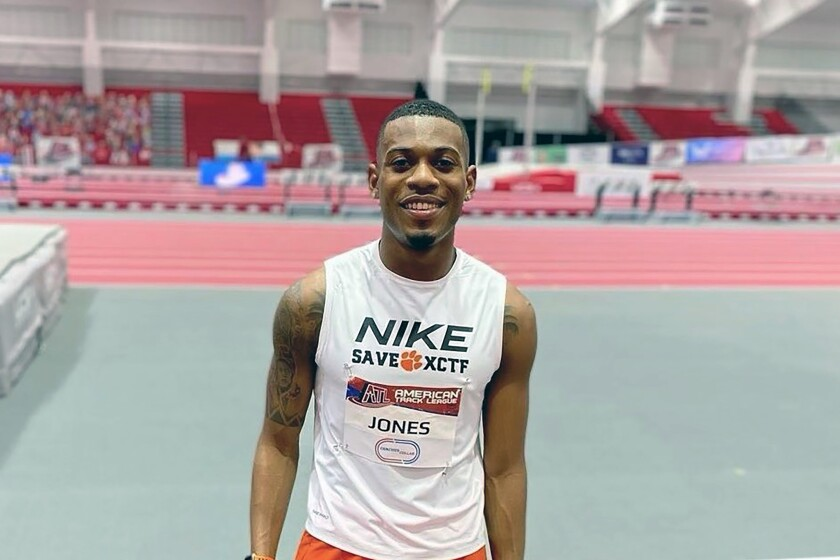 This undated photo provided by Kameron Jones shows Kameron Jones at an American Track League athletics event in Fayetteville, Ark. Kameron Jones' lasting mark on the Clemson track program may not have anything to do with the times he turns in or the medals he brings home. Jones has a gold-medal mindset when it comes to saving the men's track and field program — along with cross country — from being cut by the school for budgetary reasons. (Kameron Jones via AP)