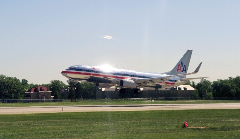 (FILES) An American Airlines jet lands on May 28, 2009 at the Minneapolis/St. Paul International Air