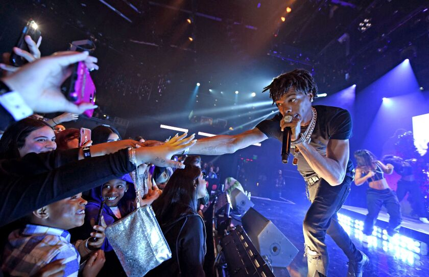 Lil Baby performs during the iHeartRadio Album Release Party in 2020.