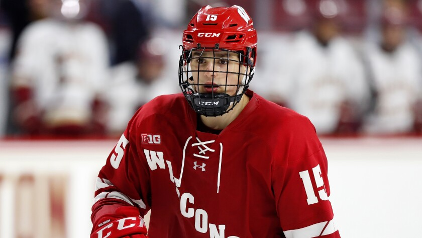 Wisconsin's Alex Turcotte during an NCAA hockey game