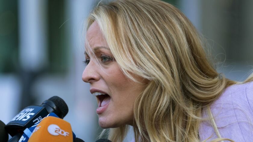 Adult film actress Stormy Daniels speaks outside court in New York on April 16.