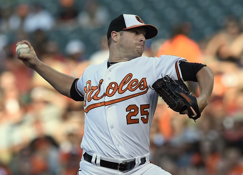 Baltimore Orioles starting pitcher Bud Norris delivers against the Texas Rangers in the first inning of a baseball game Monday, June 29, 2015, in Baltimore.(AP Photo/Gail Burton)