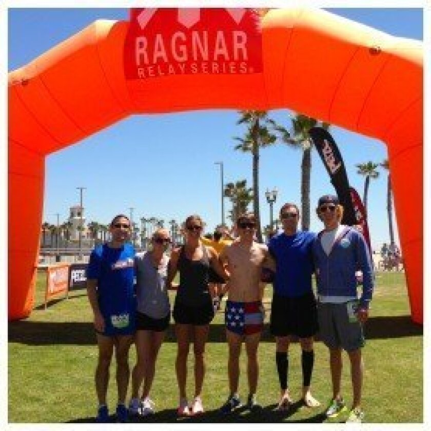 Solana Beach resident Andy Hemmerich and his Hammer Prep team raced in the Ragnar Relay and raised money for Monarch School. The team from left to right included Chuck McKeown, Caela Timinsky, Liz Johnson, Alec Fillmore, Andy Hemmerich and Jordan Meltzer. Courtesy photo
