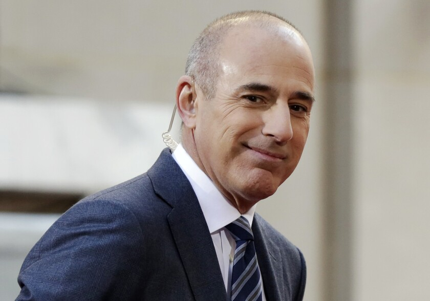 """FILE - In this April 21, 2016, file photo, Matt Lauer, co-host of the NBC """"Today"""" television program, appears on set in Rockefeller Plaza, in New York. A new book by Ronan Farrow, a former NBC News employee who now works at The New Yorker, names the accuser whose story that Lauer raped her in a Sochi hotel room led to his dismissal. Lauer denied the charges in an angry and defiant letter released by his lawyer Wednesday, Oct. 9, 2019, and said that his public silence since his firing had been a mistake. (AP Photo/Richard Drew, File)"""