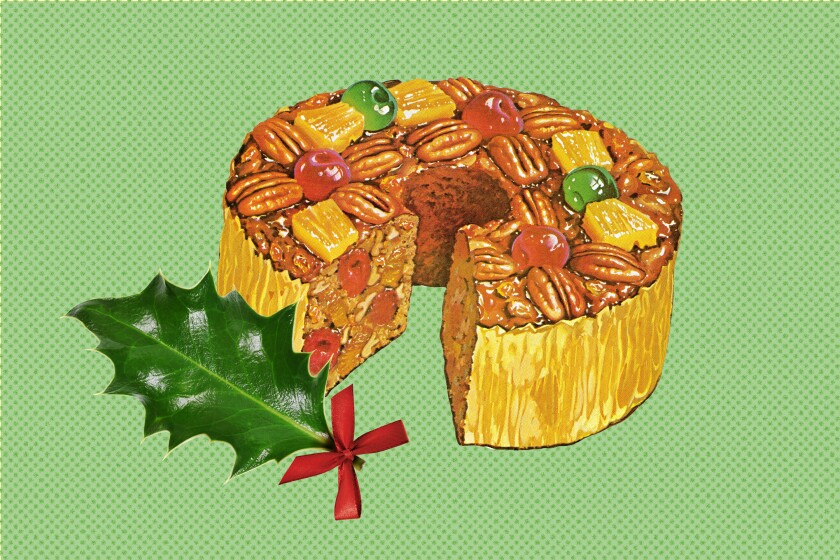 Drawing of a fruit- and nut-studded fruitcake.