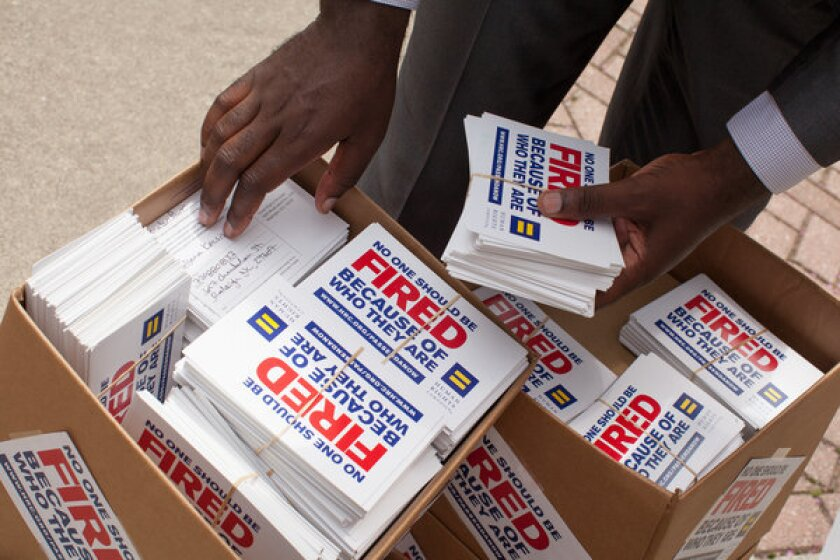 Literature handed out by the Human Rights Campaign at a news conference to show support for the Employment Non-Discrimination Act in Charlotte, N.C.