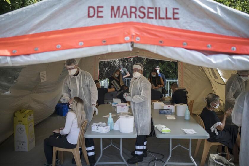 Coronavirus testing under a tent