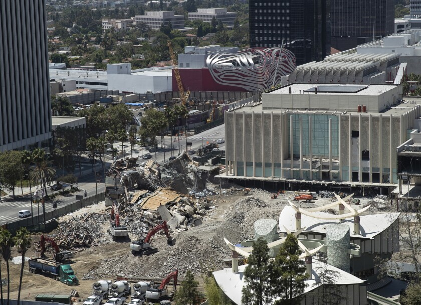 LACMA's Art of the Americas Building in its final stages of demolition.
