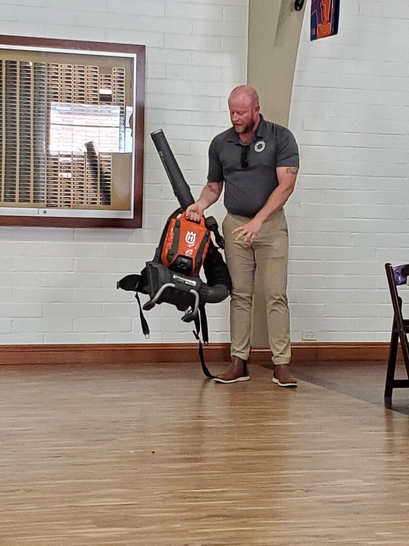 Ben Colton of Nissho of California discusses the battery-operated leaf blower that will be rolled out in La Jolla by Aug. 1.