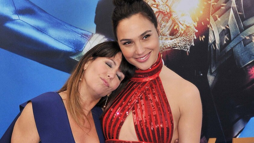 """Director Patty Jenkins, left, with """"Wonder Woman 1984"""" star Gal Gadot in 2017."""