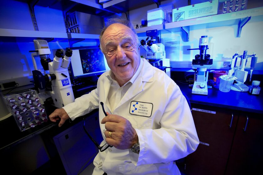 Dr. Richard A. Lerner, MD in his lab at The Scripps Research Institute (TSRI) in San Diego.  Scientist at The Scripps Research Institute (TSRI) have found a way to change leukemia cells into leukemia-killing immune cells.