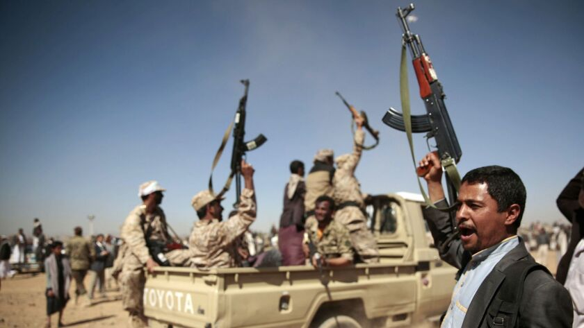 Tribesmen loyal to Houthi rebels chant slogans during a gathering aimed at mobilizing more fighters into battlefronts to fight pro-government forces, on Jan. 3, 2017, in Sana, Yemen.
