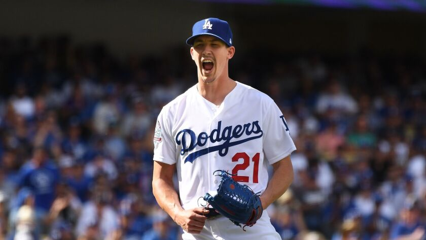 LOS ANGELES, OCTOBER 1, 2018-Dodgers pitcher Walker Buehler celebrates the last out of the 6th innin