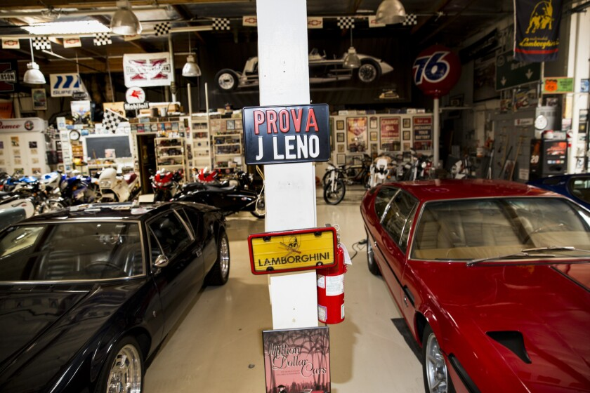 A vast collection of car and career-related memorabilia is housed in Leno's Burbank garage.