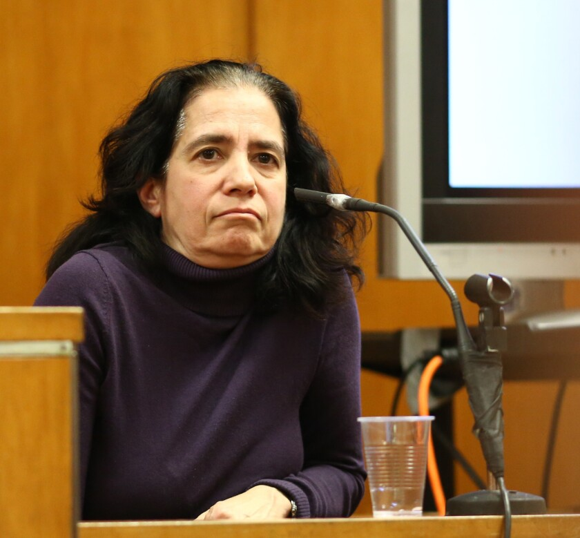 Dr. Lori Legano is pictured on the witness stand testifying for the prosecution in the case of Marianne Benjamin-Williams in State Supreme Court on Tuesday in Manhattan.