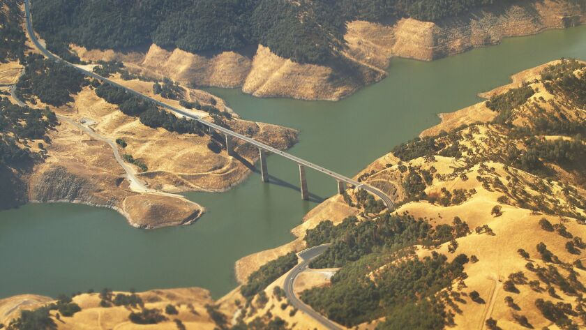 FRESNO, CA - AUGUST 08, 2016 - The Highway 49 bridge over the New Melones Reservoir on the Stanislau