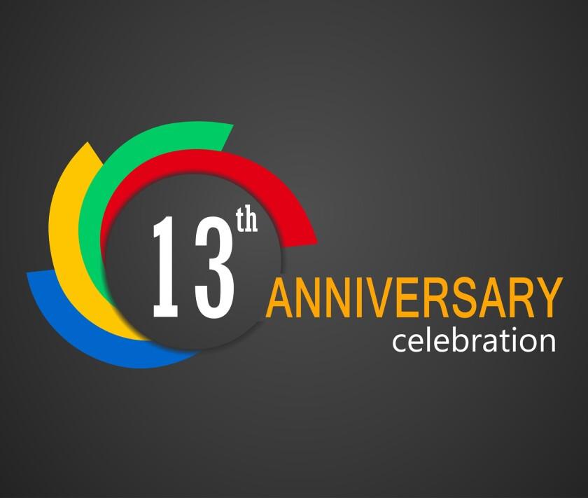 13th Anniversary celebration background, 13 years anniversary ca