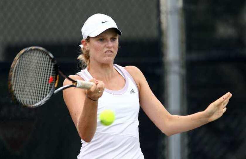 Lynda Xepoleas of Newport Beach lost to Mayo Hibi in the girls' 18 singles final.