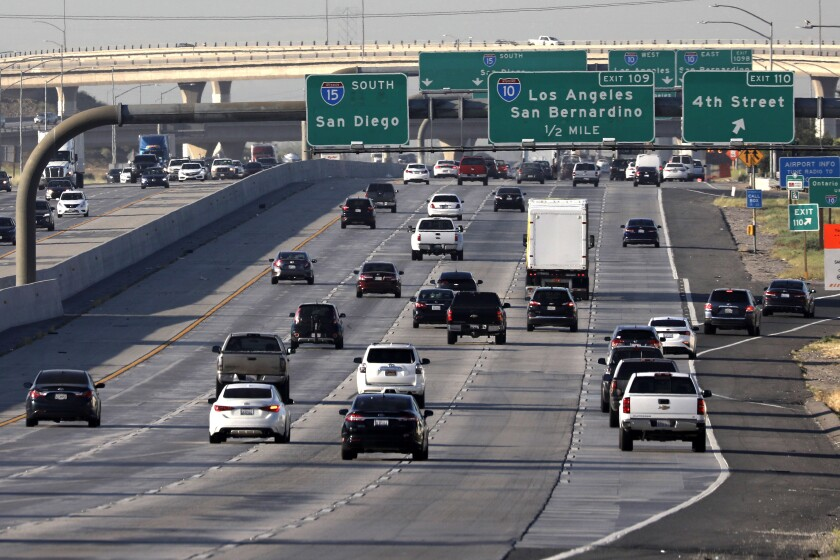 The morning commute on the southbound 15 Freeway in Ontario was slightly busier May 8 than in prior weeks.