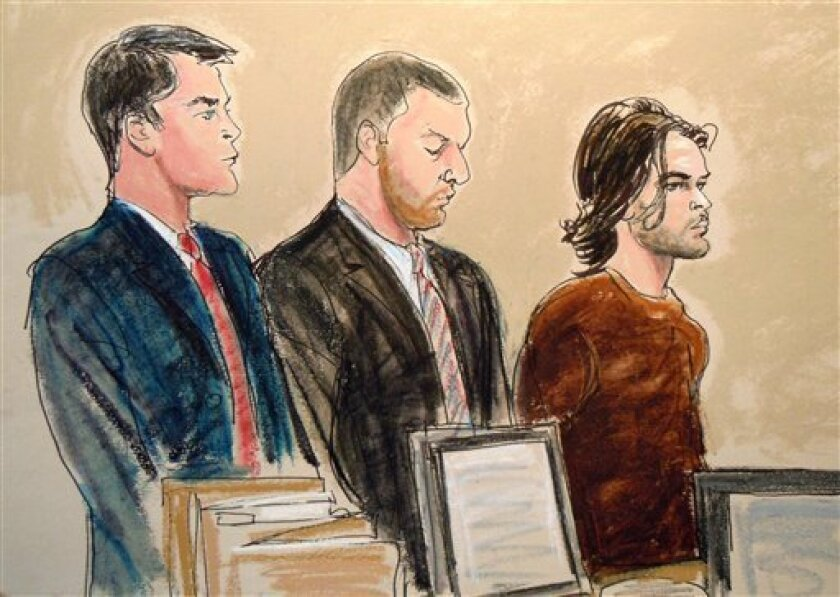 In this courtroom artist's rendering, Abdel Hameed Shehadeh, right, appears in Brooklyn federal court, Tuesday, Nov. 2, 2010, in New York, on charges that he made false statements to U.S. authorities who were investigating international terrorism. From left are Assistant U.S. Attorney James Loonam, defense attorney Jeffrey Pittell and the defendant, Abdel Hameed Shehadeh. (AP Photo/Elizabeth Williams)