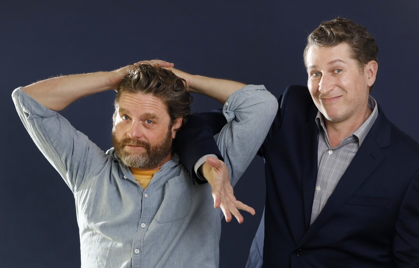 "Zach Galifianakis, right, with Scott Aukerman, who directed the comedian in the new Netflix film ""Between Two Ferns: The Movie."""