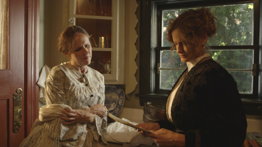 "Molly Shannon (left) as Emily Dickinson and Susan Ziegler as her partner Susan in ""Wild Nights With Emily."""