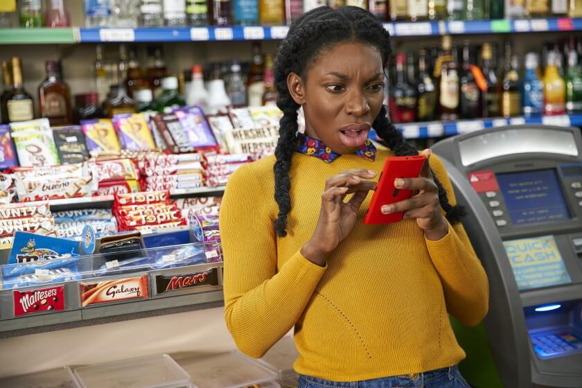 "Michaela Coel in ""Chewing Gum."""