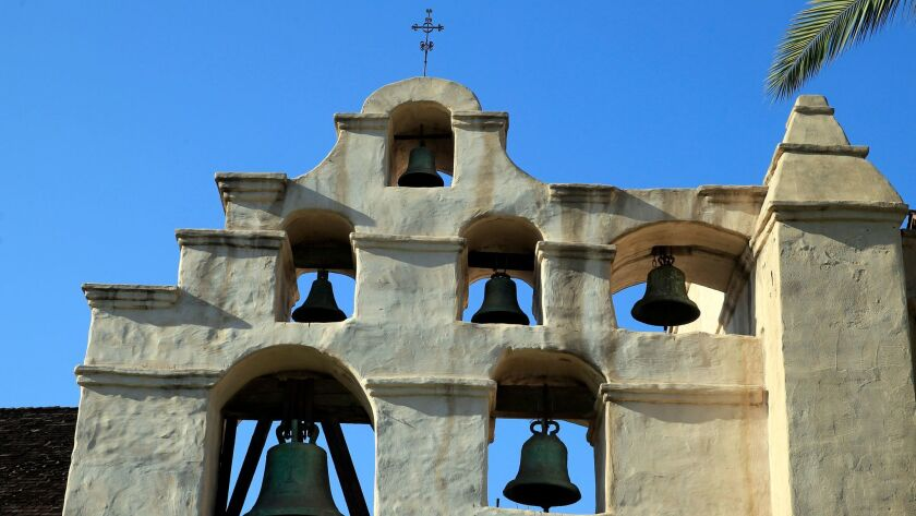 Exterior view of San Gabriel Mission in San Gabriel, Calif. on Aug. 1, 2014.