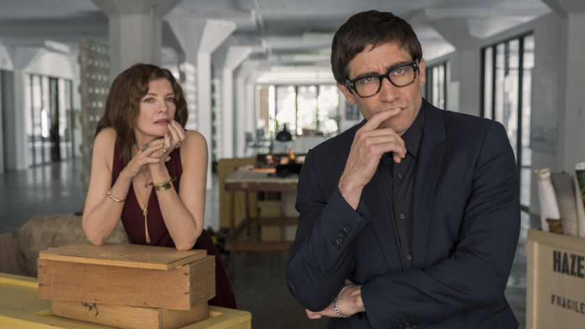 "Rene Russo and Jake Gyllenhaal in the movie ""Velvet Buzzsaw."""