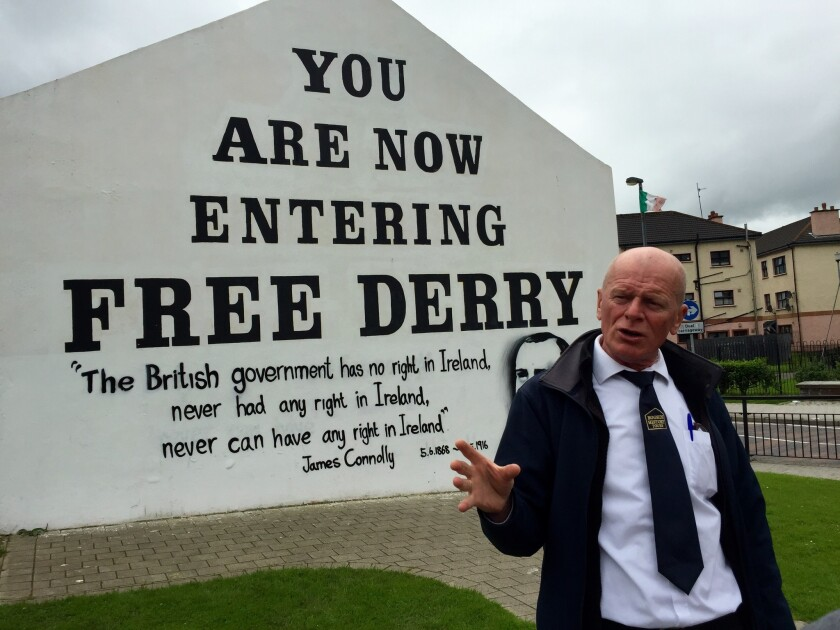 """George Ryan, who leads tours of the site of the 1972 """"Bloody Sunday"""" massacre, hopes the EU referendum will bolster chances for Irish reunification."""