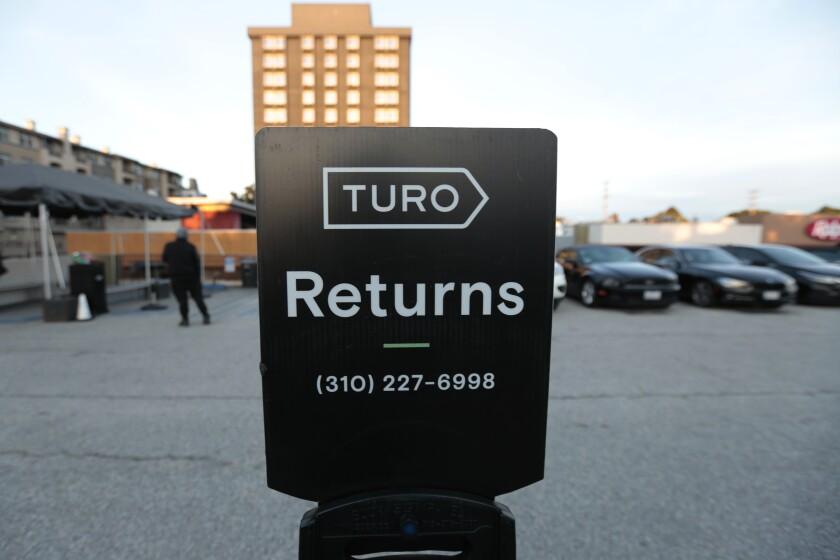Turo car rental valet lot on Tuesday, December 24, 2019 in Los Angeles, California.