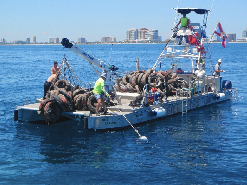 Divers have begun hauling up tires from the ocean floor off South Florida. Once hauled back to land, the tires will travel by truck to an energy plant near Tampa, to be burned to generate electricity.