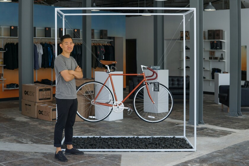 Nick Drombosky, founder of Banker Supply, in the new Echo Park location