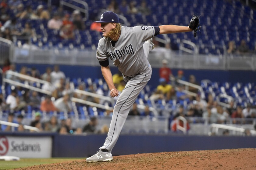 Padres reliever Trey Wingenter was optioned to Triple-A El Paso on Sunday.