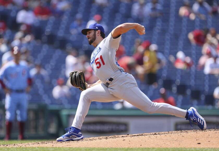 Alex Vesia pitches for the Dodgers during the fifth inning of a game against the Phillies on Aug. 12 in Philadelphia.
