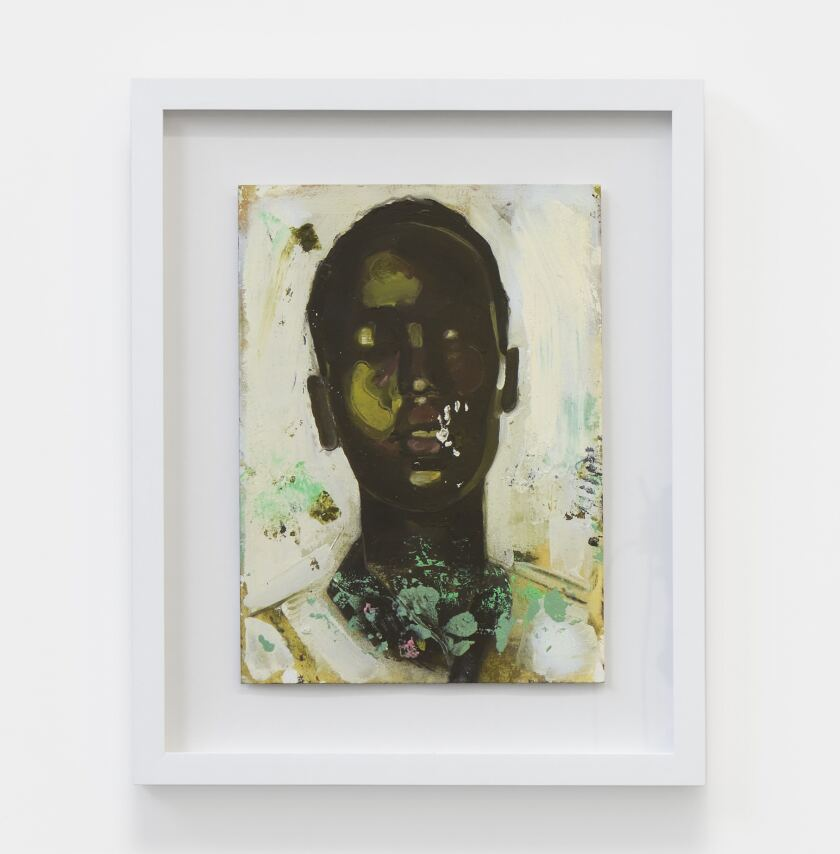 A painting by Devin Johnson shows the face of a Black figure with eyes closed.