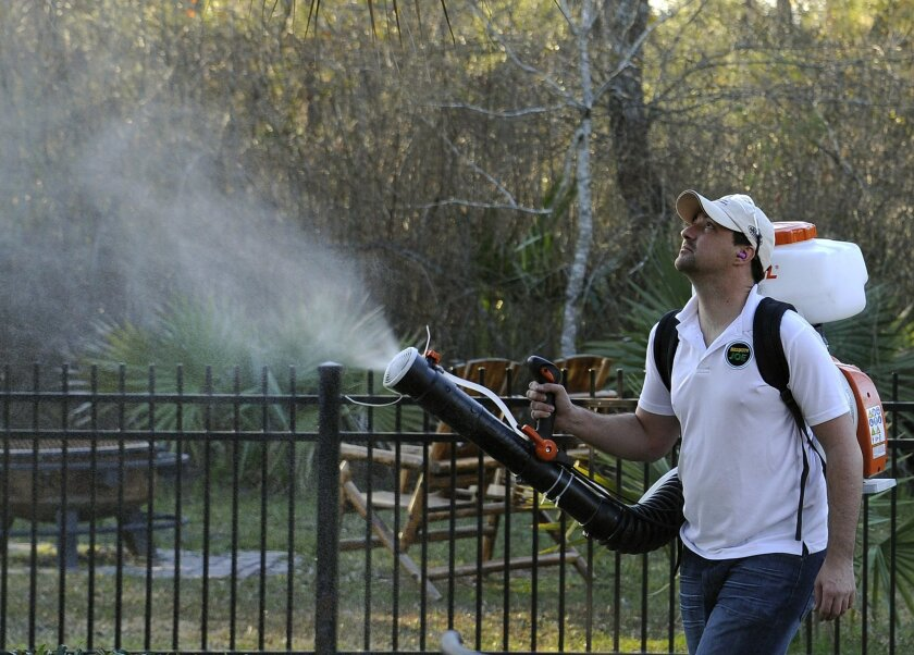In this Wednesday, Feb. 10, 2016 photo, Darryl Nevins, owner of a Mosquito Joe franchise, sprays a backyard to control mosquitoes in Houston. Pest control companies in Texas are getting an early surge in business because of concerns that mosquitoes bearing the Zika virus will arrive from neighborin