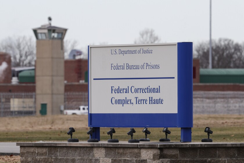 A sign at the Federal Correctional Complex in Terre Haute, Ind., where Orlando Hall was executed.