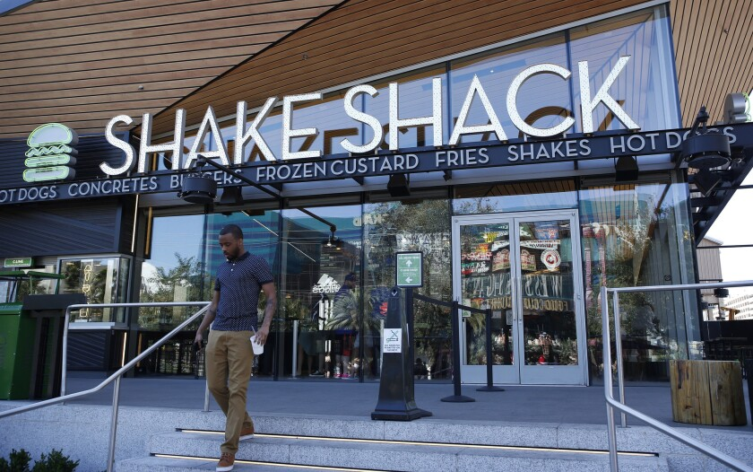 Shake Shack's downtown L.A. location will replace the 801 Hill nightclub at the corner of Hill and 8th streets. Above, a Shake Shack in Las Vegas.