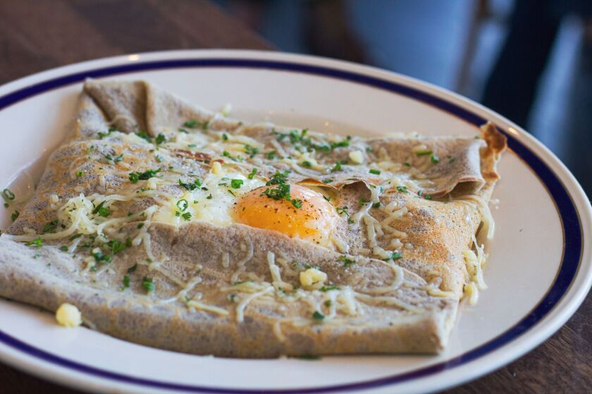 Buckwheat crepes, one of the brunch dishes at newly opened Little Frenchie in Coronado.