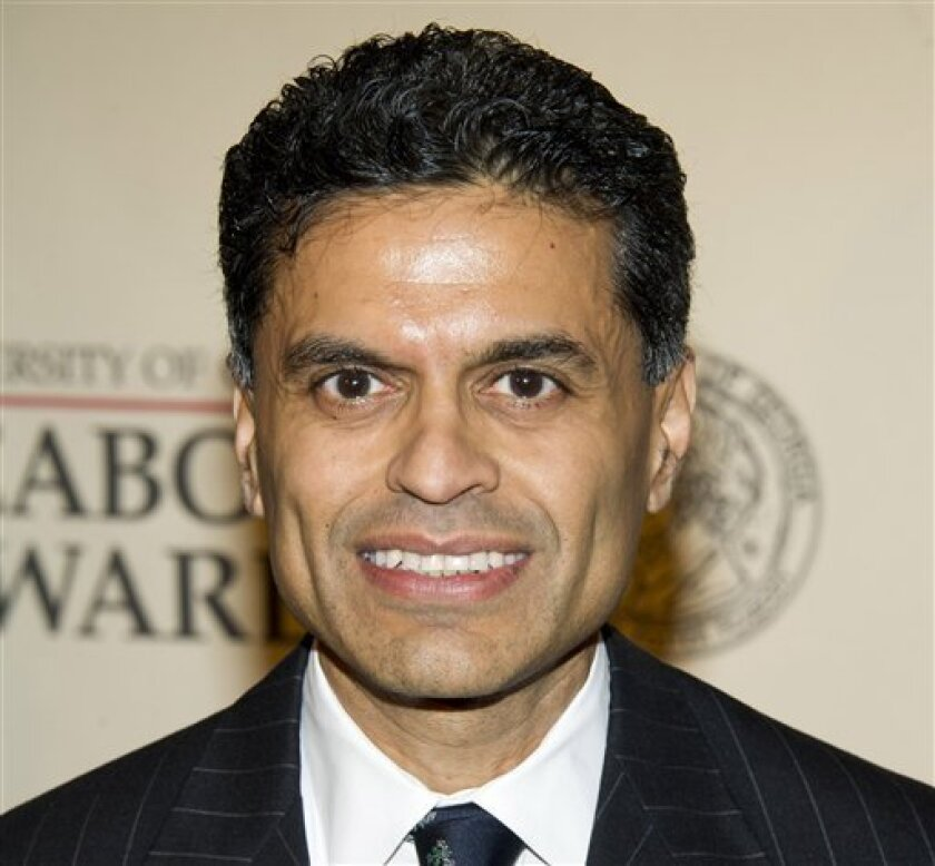 """FILE - This May 21, 2012 file photo shows columnist and TV host Fareed Zakaria attending the 71st Annual Peabody Awards in New York. Zakaria is apologizing for lifting paragraphs by another writer for use in his column in Time magazine. Zakaria said in a statement Friday, Aug. 10, he made a """"terrible mistake"""" and termed it """"entirely my fault."""" Time magazine said it has suspended his column for one month pending further review. Media reporters had cited similarities between passages in Zakaria's column about gun control that appeared in Time's Aug. 20 issue, and paragraphs from an article by Harvard University history professor Jill Lepore published in April in The New Yorker magazine. (AP Photo/Charles Sykes, file)"""