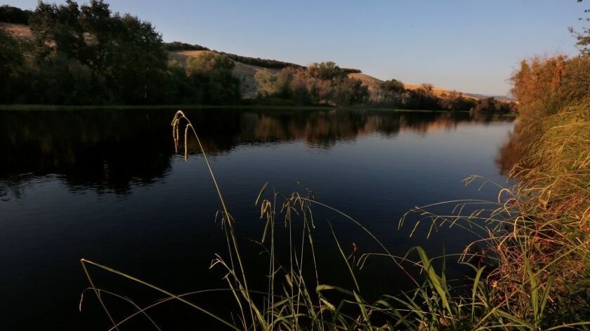 The flow of water slows down and forms a very still area at Lost Lake on the San Joaquin River near Friant, Calif. on October 9, 2015.
