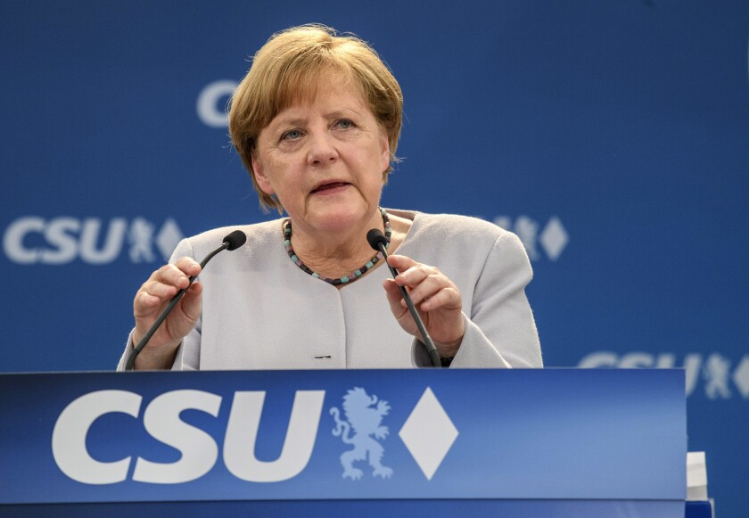 German Chancellor Angela Merkel speaks at a campaign event in Munich on Sunday.