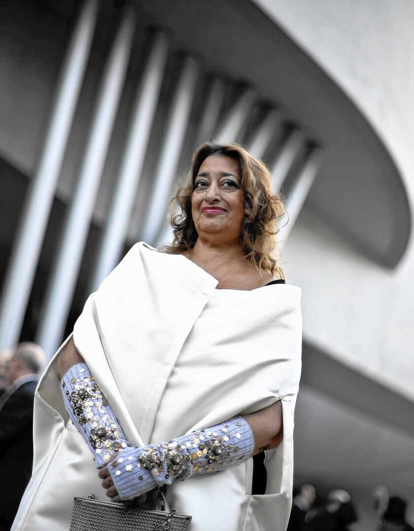 Influential Iraqi-British architect Zaha Hadid poses for a photo during the opening ceremony of the National Museum of 21st Century Arts (MAXXI), in Rome, Italy in 2010. Hadid died last month at age 65.
