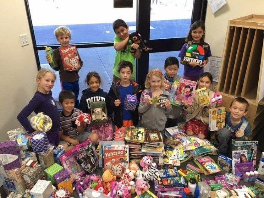 Del Mar Hills second-graders recently gathered donations for Ronald McDonald House.