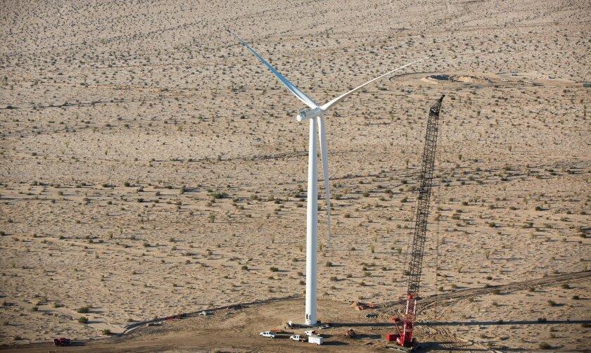 New turbines dot the desert at Ocotillo