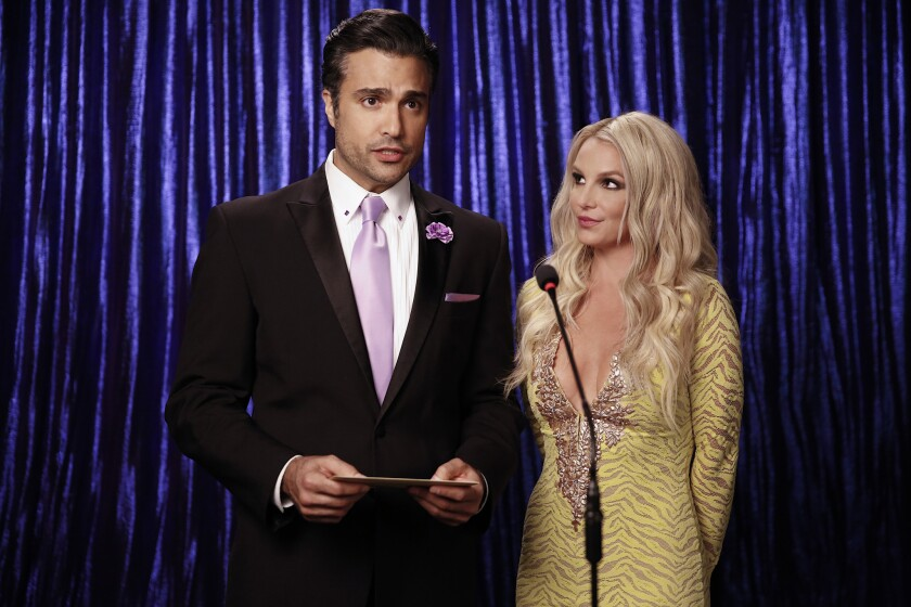 "Jaime Camil and Britney Spears in ""Jane The Virgin"" on KTLA."