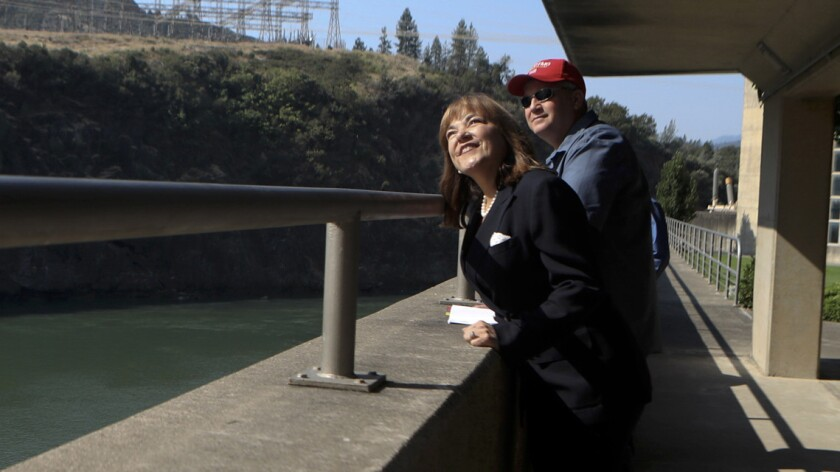 U.S. Senate candidate Loretta Sanchez and her husband, Jack Einwechter, tour Shasta Dam.