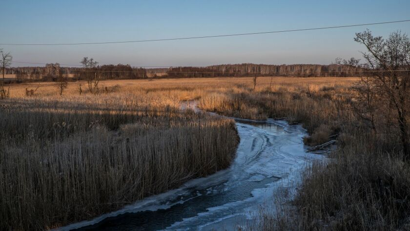 The Techa river. For decades the river was used by Mayak pland to dump radioactive wastes. it has re