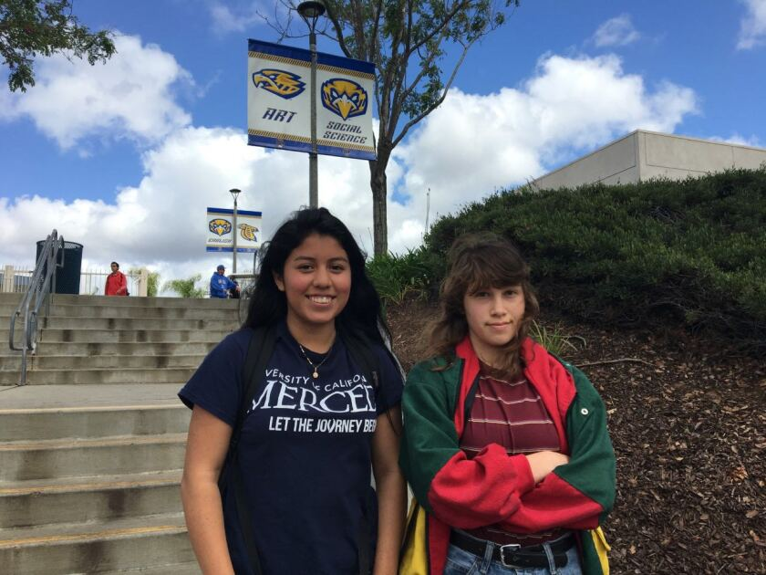 San Pasqual students Mildred Chavez, 16, and Elizabeth Gonzalez, 17, defended teachers criticized for wearing sombreros in a yearbook photos. The students said they viewed the images as a celebration of Hispanic culture.